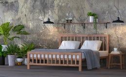 Image de rendu de la chambre à coucher 3d de style de grenier Photos libres de droits