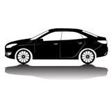 Image de silhouette de voiture d'isolement par vecteur Silhouette noire Véhicule avec la réflexion Photos libres de droits