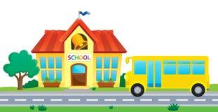 Image 1 de thème d'école et d'autobus Images stock