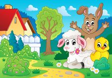Image 2 de thème d'animaux de ressort Image libre de droits