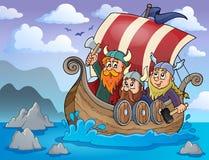 Image 2 de thème de bateau de Viking illustration libre de droits