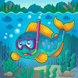 Image 4 de thème de plongeur de prise d'air de poissons Images libres de droits
