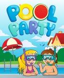 Image 3 de thème de réception au bord de la piscine Photographie stock libre de droits