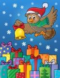 Image 6 de thème de hibou de Noël Photo stock