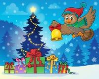 Image 7 de thème de hibou de Noël Photos libres de droits