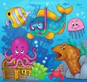 Image 3 de thème de plongeur de prise d'air de poissons Images libres de droits