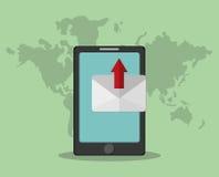 Image de transmission de messages de téléphone portable illustration de vecteur
