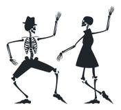 Image de vecteur avec la silhouette de couples du squelette Image stock