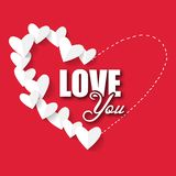 Image de vecteur de coeur de Valentine Day Love You Paper Photographie stock