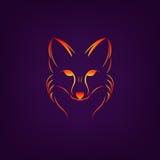 Image de vecteur d'une conception de renard sur un fond noir Photo libre de droits