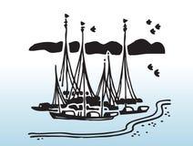 Image de vecteur de bateaux à voiles Images libres de droits