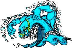 Image de vecteur de natation et d'onde de plongée Image libre de droits