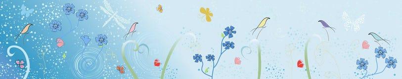 Image de vecteur des oiseaux et de la fleur stylisés illustration stock