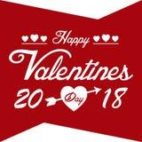 Image de vecteur du jour 2018 de Valentine Day Red Happy Valentine Photos libres de droits