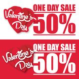 Image de vecteur de la vente 50% de jour de Valentine Day One Photos stock