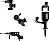 Image de vecteur machine- le marteau rotatoire, le marteau piqueur, la broyeur d'angle et la perceuse sans fil à disposition illustration stock