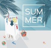 Image de vecteur Palmier par la mer La fille habille un maillot de bain Scène de coucher du soleil de plage Fond d'été Photos libres de droits