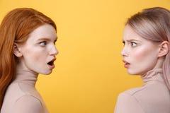 Image de vue de côté des jeunes choqués deux dames Image libre de droits