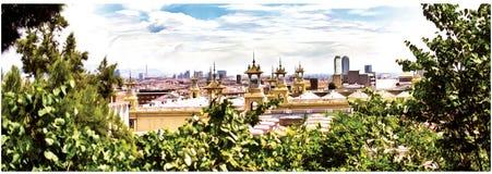 Image de vue panoramique de Barcelone, Espagne Panorama illustration stock