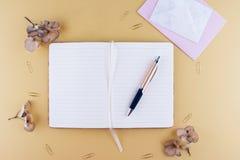 Image de vue supérieure de carnet avec avec le stylo Images libres de droits