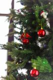 Image of decorated Christmas tree with balls and beads. Close-up Royalty Free Stock Image
