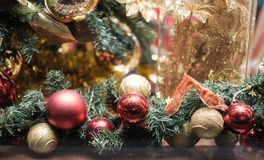 Image of decorated Christmas tree with red and gold ornaments. Close-up Royalty Free Stock Image