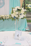 Image of a decorated wedding guest table. Image of a beautifully decorated with cloth, flowers and accessory wedding guest table Royalty Free Stock Image