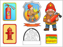 Image dedicated firefighter set Royalty Free Stock Images