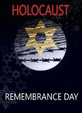 Image dedicated to the Holocaust day. Image dedicated to the Holocaust, a star of David against the background of the moon and barbed wire, with inscription vector illustration