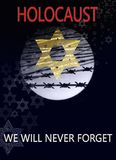 Image dedicated to the Holocaust day. Image dedicated to the Holocaust, a star of David against the background of the moon and barbed wire, with inscription royalty free illustration