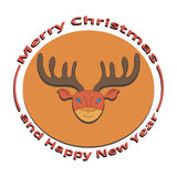 The image of a deer on Christmas and New Year. On a white background Royalty Free Stock Images
