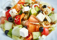 Image of delicious Greek salad, close-up royalty free stock photos