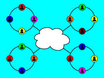 Networking. An image depicting groups of people networking via the cloud Stock Image