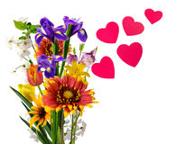 image des fleurs et des coeurs sur un fond blanc Photo stock