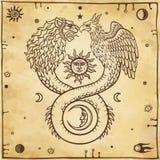 Image des ouroboros animaux fantastiques avec un corps d'un serpent et de deux têtes d'un lion et d'un oiseau Symboles de la lune Photographie stock libre de droits