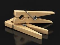 Image des pinces à linge en bois Images libres de droits