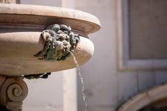 fountain at the Basilica della Santa Casa in Italy Marche stock images
