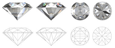 Image of diamond from four sides with technical drawing of folds Stock Images