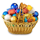 Image of different Christmas decorations in basket Royalty Free Stock Images
