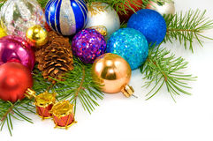 Image of a different Christmas decorations on a white background closeup Stock Images