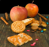 Image of different cookie and apples Stock Image
