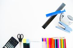Different school objects. An image of different school objects on a table Royalty Free Stock Photos