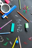 Different school objects. An image of different school objects on a table Stock Photo