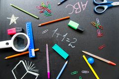 Different school objects. An image of different school objects on a table Stock Photos