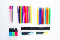 Different school objects. An image of different school objects on a table Royalty Free Stock Photography