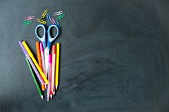 Different school objects. An image of different school objects on a table Royalty Free Stock Images
