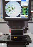 Image Dimension Measurement. Machine meassure workpiece dimension in second royalty free stock photo