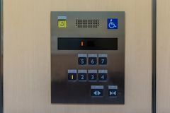 Image of disabled lift button. Stainless steel elevator panel push buttons for blind and disability people. Push Button For the di. Sabled. Care and technology royalty free stock image