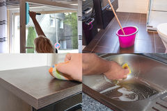 Image is divided into 4 sections about housework Stock Images