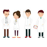 The image with 4 doctors in white coats. Vector Stock Photos